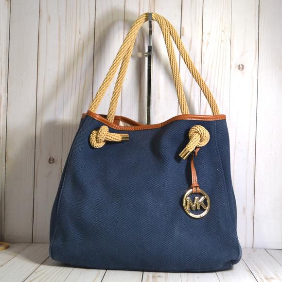 michael kors bags marina navy blue canvas bag tote poshmark rh poshmark com